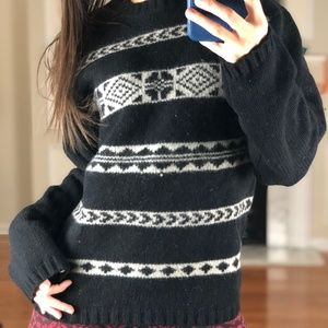 Structure Striped Holiday Sweater Lamb's Wool, S